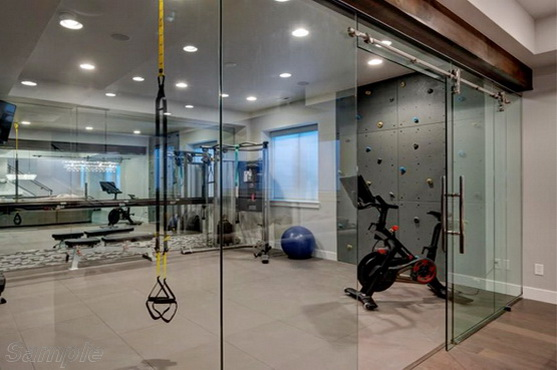 Glass partitions with sliding door in gym