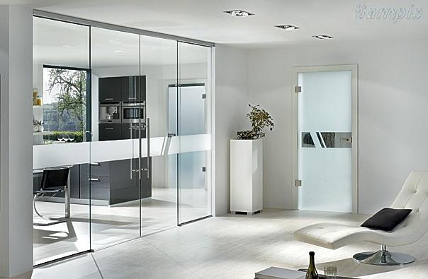 Стеклянные двери с раздвижным механизмом закрытого типа