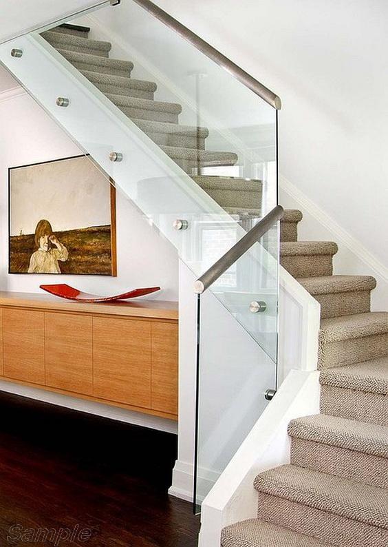Модель GS-03. Стеклянное ограждение лестницы, стеклянные перила на точечных креплениях