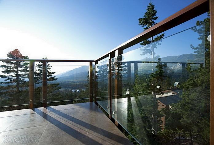 Model GF-03. Point-mounted frame glass terrace railing