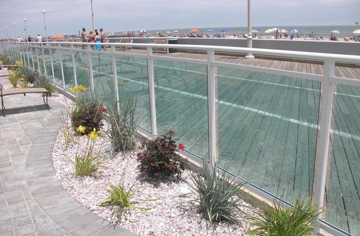 Model GF-01. Frame glass railing (wind barrier)