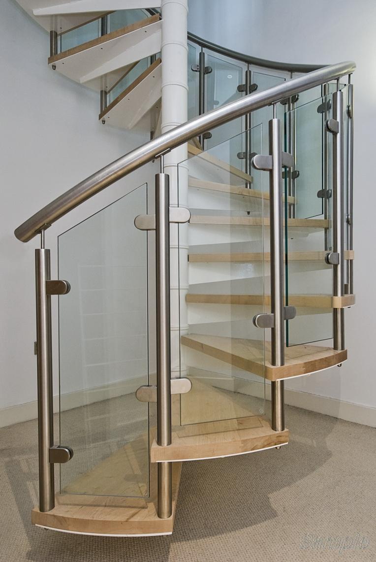 Model GF-02. Frame glass stair railing on mounts