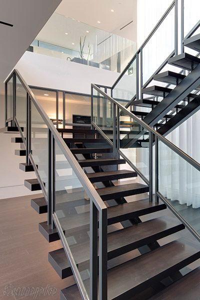 Model GF-01. Frame glass stair railing