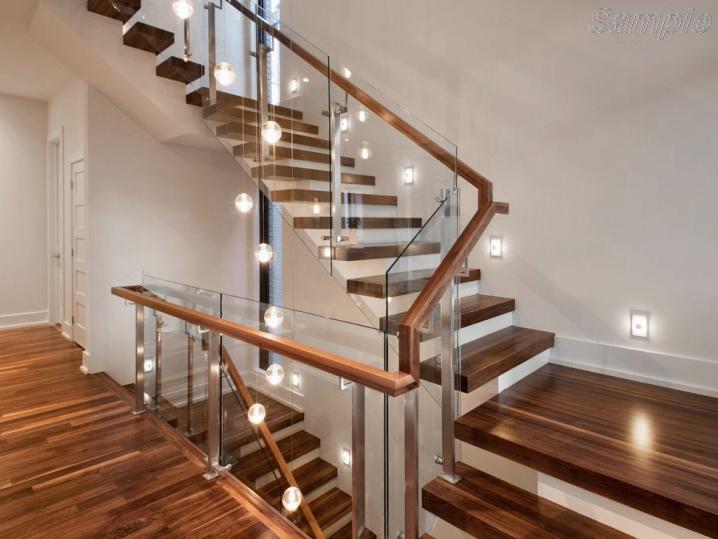 Model GF-03. Frame glass stair railing, point-mounted glass railings