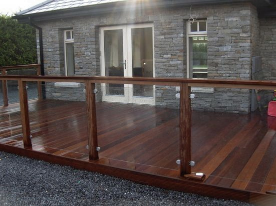 Model GF-02. Frame glass terrace railing with clips