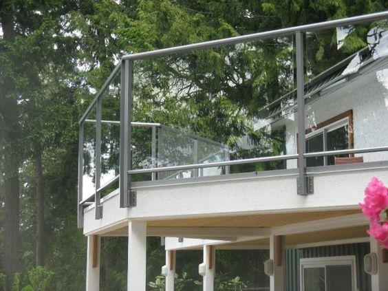 Model GF-01. Frame glass balcony railing, fastening to the frame