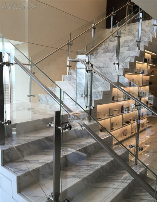 Model GF-03. Frame glass stair railing with point mounts