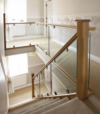 Model GF-02. Frame glass stair railing, glass railings on mounts