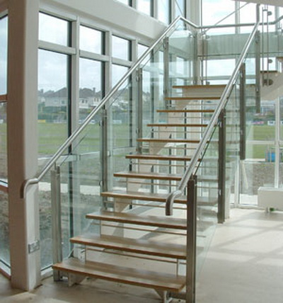 Model GF-02. Frame glass stair railing, glass railing with clips