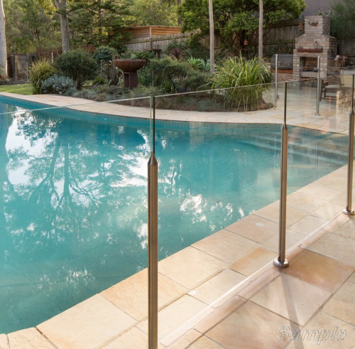Model GP-01. Glass pool railing, fastening in the slot of the rack