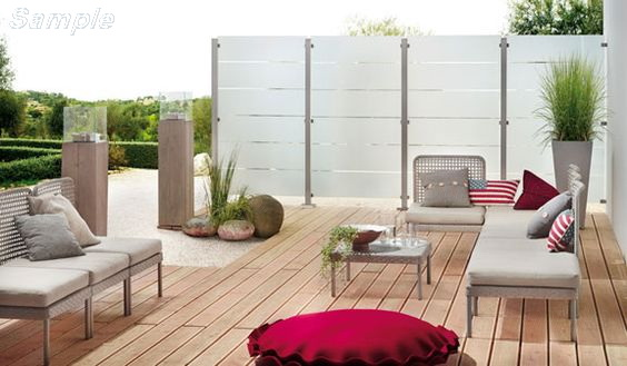 Model GP-02. Glass terrace railing, glass mounting in clips