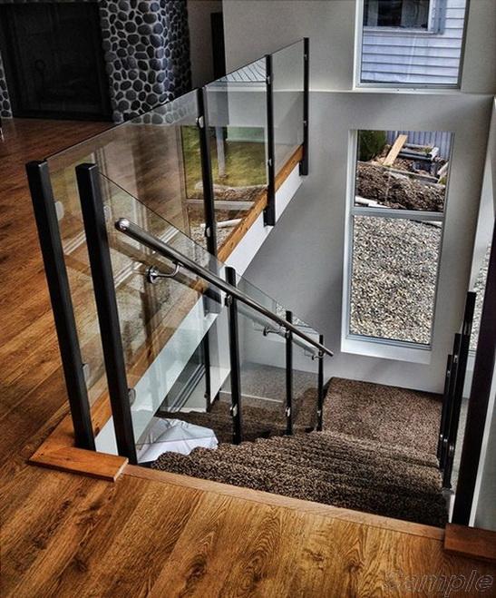 Model GP-02. Glass railings, glass fastening in clips