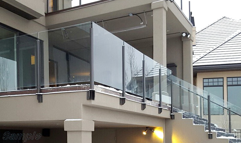 Model GP-01. Glass railing for terraces and stairs, fastening to the slot of the rack