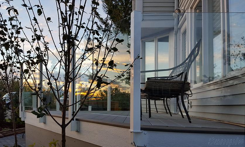 Model GP-01. Glass veranda railing, glass fastening in the slot of the rack