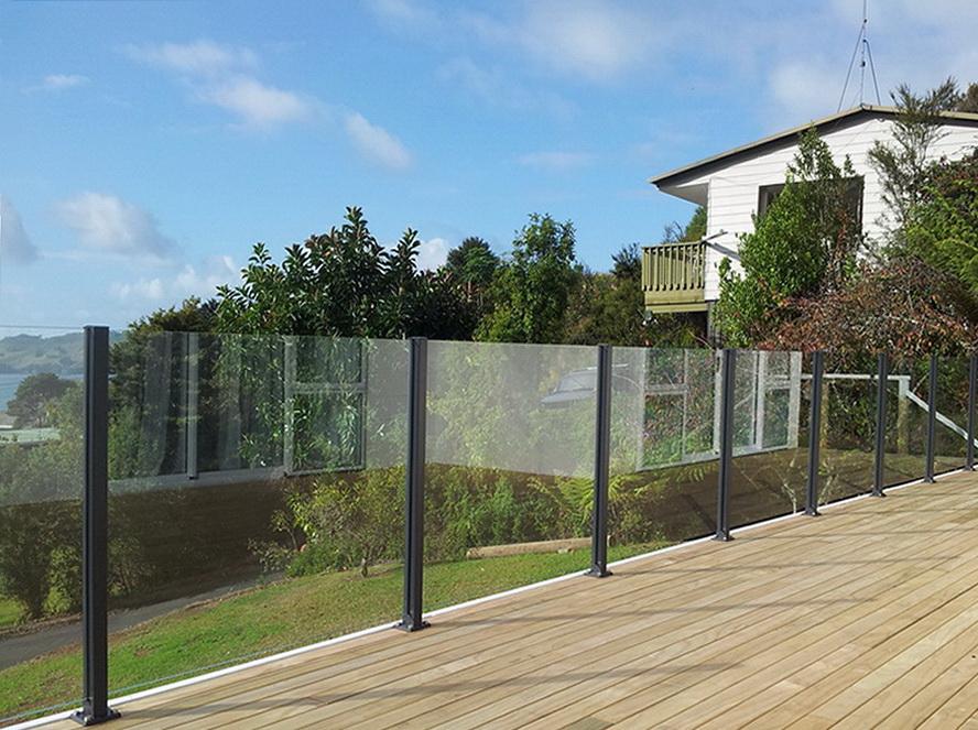 Glass rails on racks