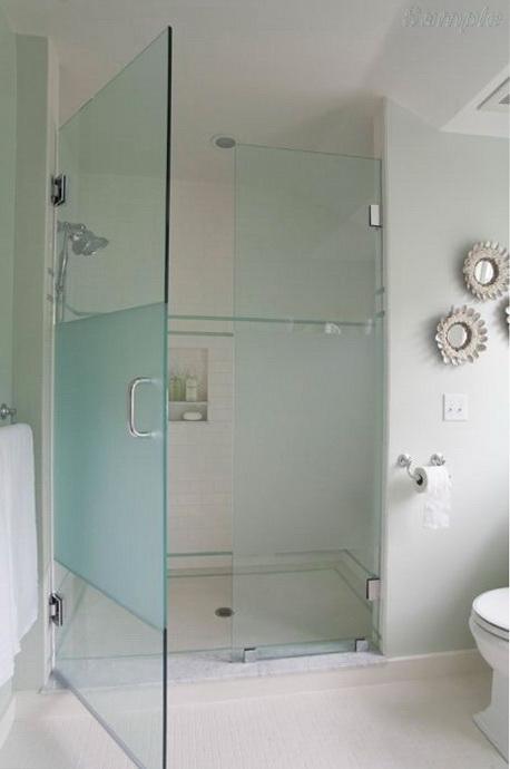 Модель SD-02. Распашная стеклянная дверь для душевой с фиксированным элементом