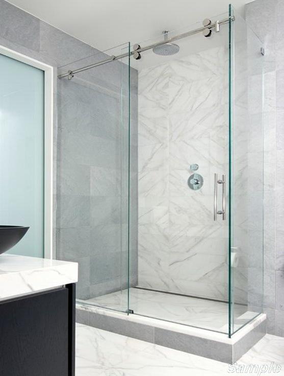 Model SC-5. Corner glass shower cabin with sliding door