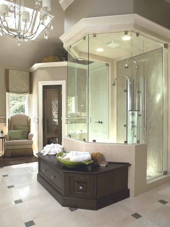 Model SC-06. Hexagonal glass shower cabin