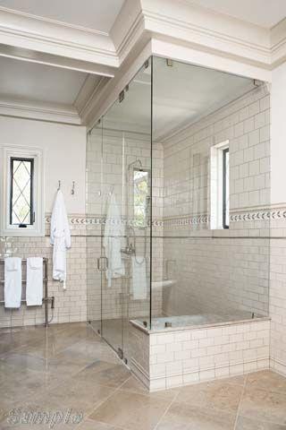 Model SC-02. Corner glass shower cabin with swing door