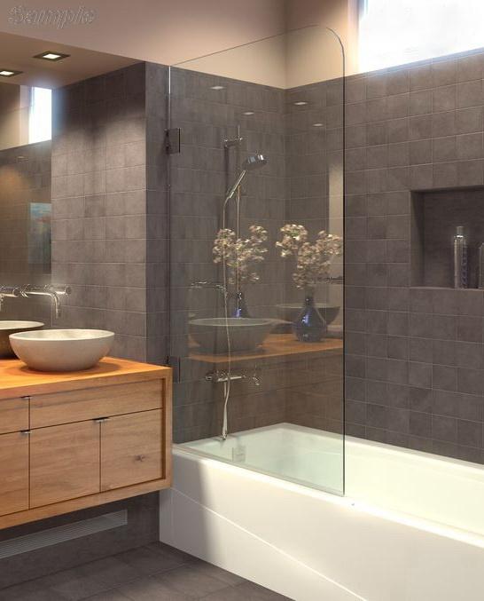 Модель BS-02. Одностворчатая распашная стеклянная шторка для ванны
