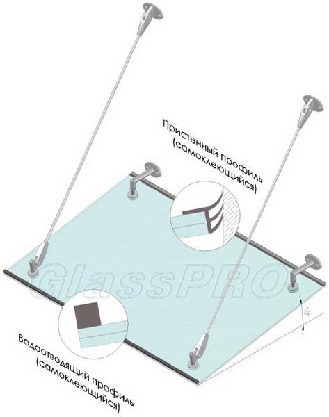 """Аксессуары для отвода дождевой и талой воды со стеклянного козырька - <span style=""""color: #ffff00;"""">Увеличить изображение!</span>"""