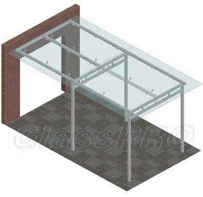 """Для навесов из стекла применяются различные виды опор и приемы закрепления стеклянных элементов - <span style=""""color: #ffff00;"""">Увеличить изображение!</span>"""