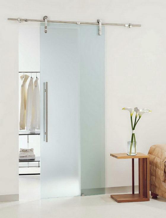 Изысканная раздвижная дверь из матового стекла с фурнитурой типа Monet