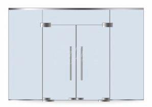 Двустворчатые распашные стеклянные двери с фрамугой и двумя неподвижными элементами
