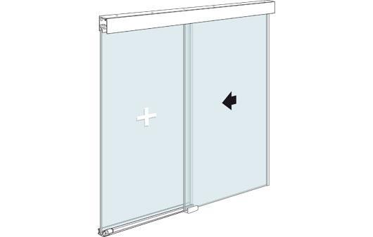 Стеклянная офисная перегородка с раздвижной дверью и фиксированным стеклянным элементом