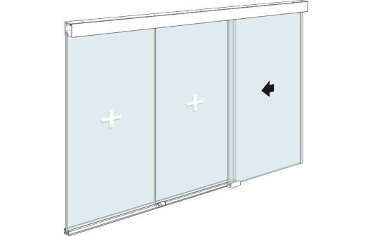 Стеклянная офисная перегородка с раздвижной дверью и двумя фиксированными элементами из стекла