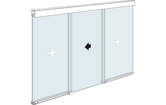 Стеклянная офисная перегородка с раздвижной дверью в центре и двумя фиксированными элементами из стекла