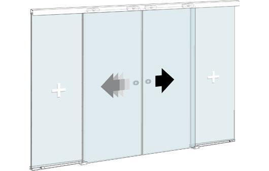 Стеклянная офисная перегородка с двустворчатой раздвижной дверью и двумя фиксированными стеклянными элементами