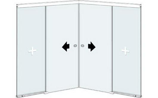 Угловая стеклянная офисная перегородка с двустворчатой раздвижной дверью и двумя фиксированными стеклянными элементами
