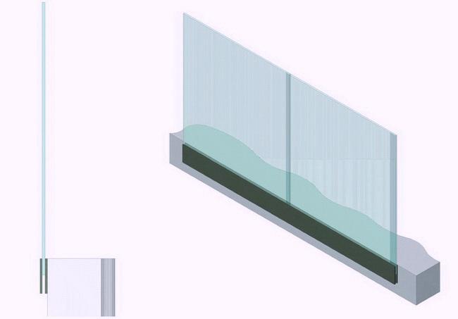 Стеклянное ограждение, в котором стекло является несущим элементом