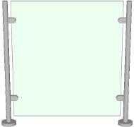 Стеклянное ограждение на стойках с креплением в зажимы
