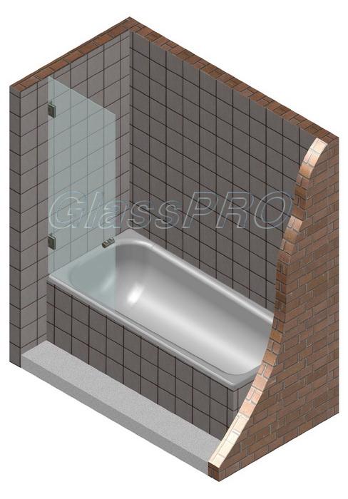 Одностворчатая распашная стеклянная шторка для ванны