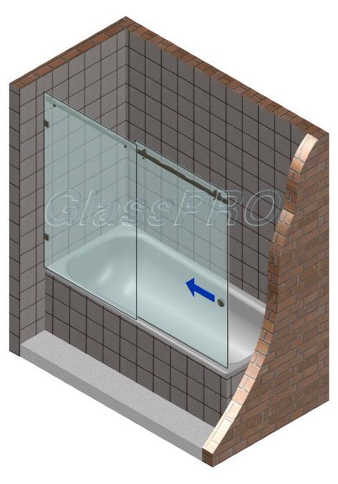 Раздвижная стеклянная шторка для ванны с одним фиксированным элементом