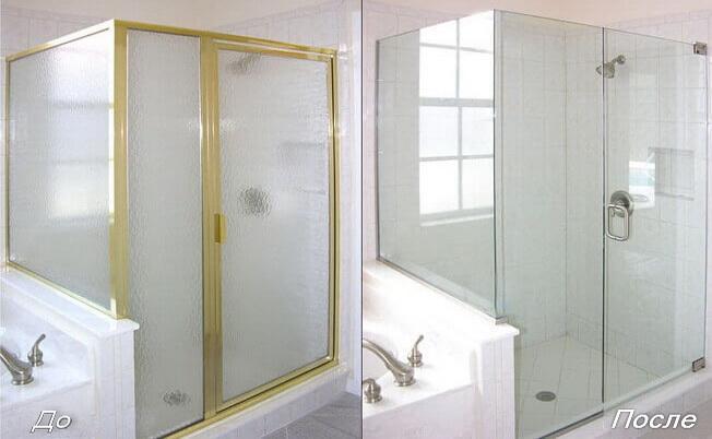 """<span style=""""color: #ffff00;""""> Обратите внимание на разницу: </span> слева - традиционная стеклянная душевая кабина, справа - стильная беспрофильная конструкция ГлассПро™"""