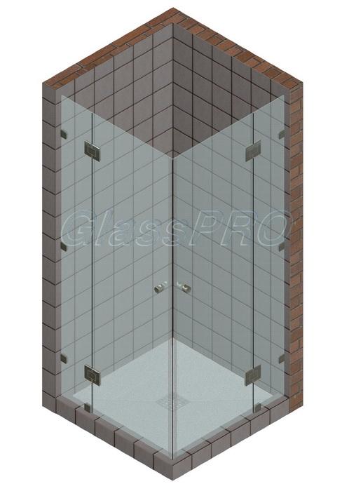 Угловая стеклянная душевая кабина с двустворчатыми распашными дверями и двумя фиксированными элементами