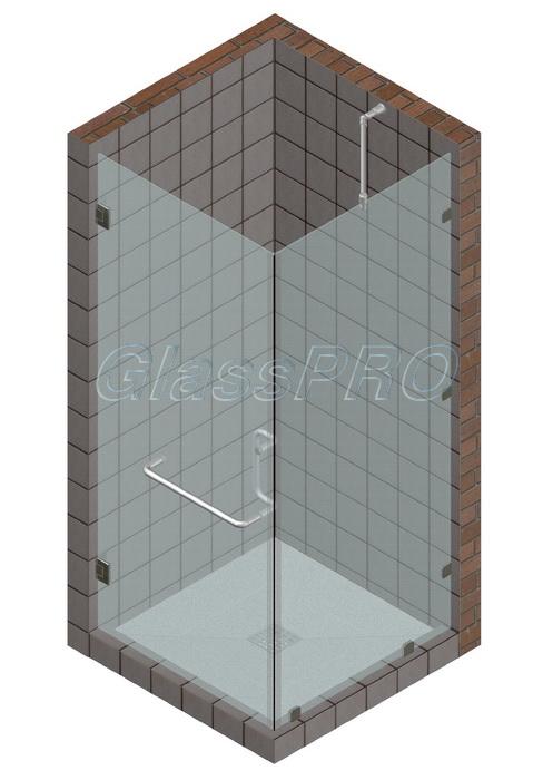 Угловая стеклянная душевая кабина с одностворчатой распашной дверью