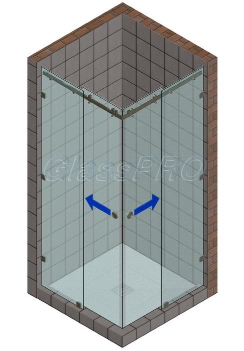 Угловая стеклянная душевая кабина с двустворчатыми раздвижными либо складными дверями