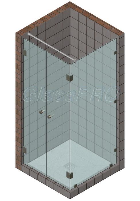 Угловая стеклянная душевая кабина с двустворчатыми распашными дверями