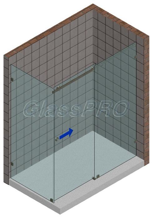 Угловая стеклянная душевая кабина с одностворчатой раздвижной дверью