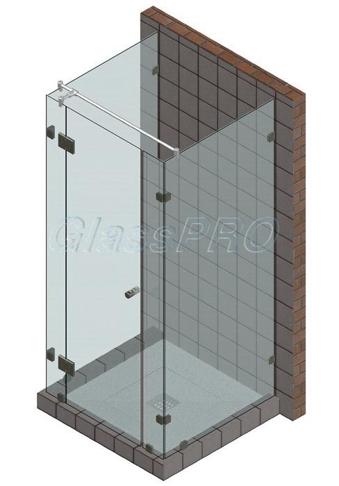 Пристенная стеклянная душевая кабина с распашной дверью
