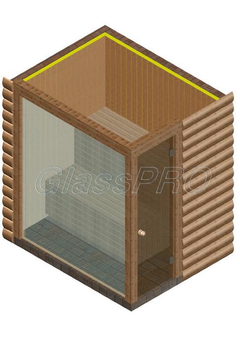 Стеклянный экран для сауны, бани и хаммама