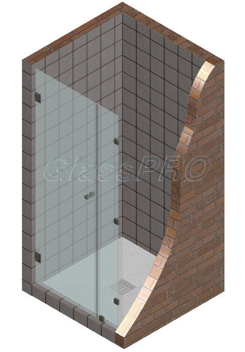 """Одностворчатая распашная стеклянная дверь для душа с фиксированным элементом. Петли """"стена-стекло"""""""