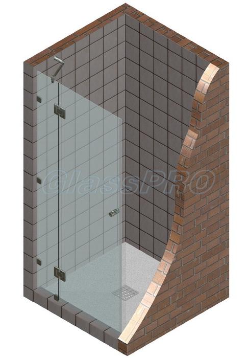 """Одностворчатая распашная стеклянная дверь в душевую с фиксированным элементом. Петли """"стекло-стекло"""""""