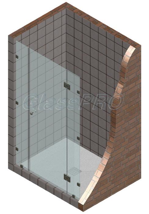Одностворчатая распашная стеклянная дверь между двумя фиксированными элементами