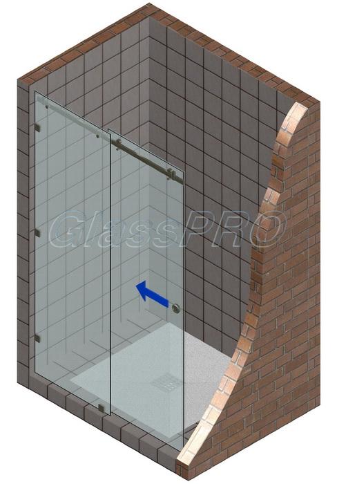 Раздвижная стеклянная дверь в душевую