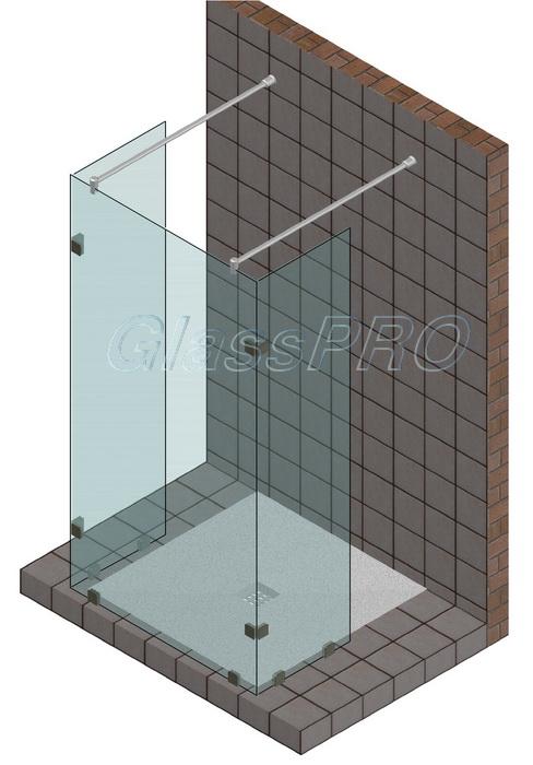 Продольное душевое ограждение без примыкания к стене c двумя угловыми элементами